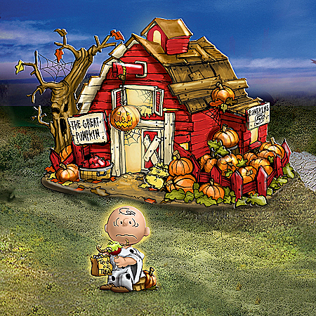 The PEANUTS Trick Or Treat Illuminated Halloween Village Collection