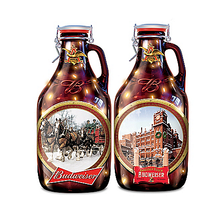 Budweiser Illuminated Collectible Glass Growlers