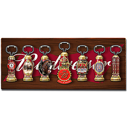 Budweiser Vintage-Style Sculpted Bottle Openers With Display