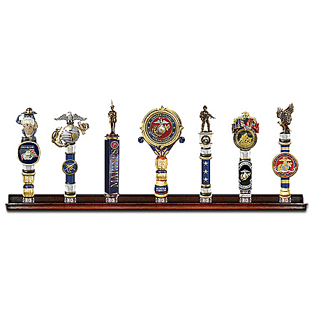 USMC Vintage-Style Sculpted Tap Handles With Display