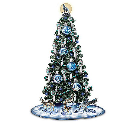 Al Agnew Illuminated Christmas Tree Collection With Wolf Art