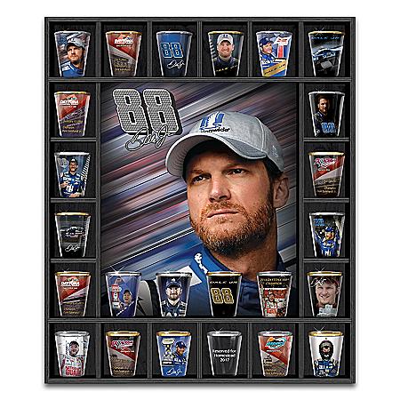 Dale Earnhardt Jr. NASCAR Legend Shot Glass Collection With Custom Display Case