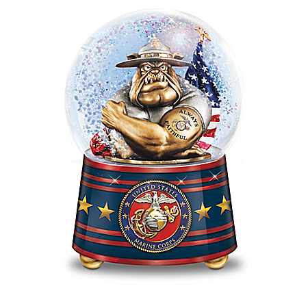 USMC Pride Heirloom Porcelain Musical Glitter Globe Collection