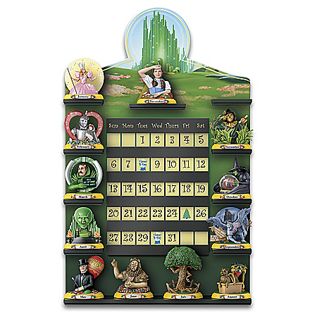 THE WIZARD OF OZ Perpetual Calendar Collection With 12 Sculptures and Display
