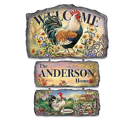 Country Personalized Welcome Sign Collection with Dona Gelsinger Rooster Art