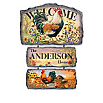 Dona Gelsinger Country Charm Personalized Rooster Welcome Sign Collection