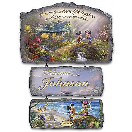 Disney Seasonal Personalized Welcome Sign Collection with Thomas Kinkade Art
