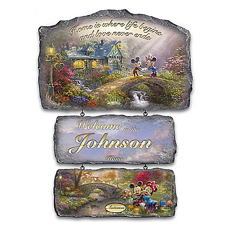 Disney Thomas Kinkade Personalized Welcome Sign Collection