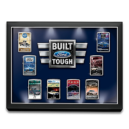 Ford Truck Zippo Lighter Collection with Custom Display Lights Up: 1 of 10000
