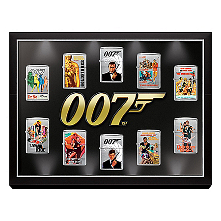 James Bond 007 Zippo Lighter Collection with Display That Lights Up: 1 of 7000