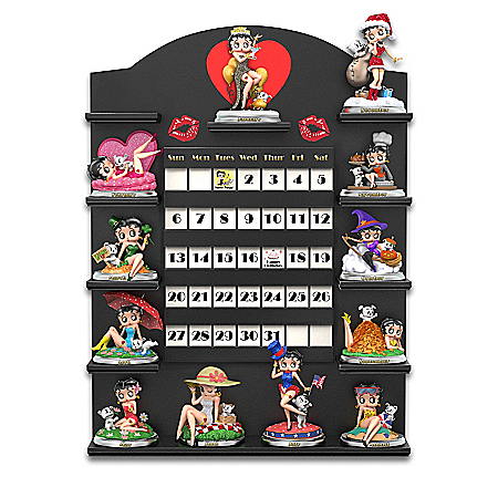 Betty Boop Sculpted Perpetual Calendar Collection With 12 Sculptures and Display
