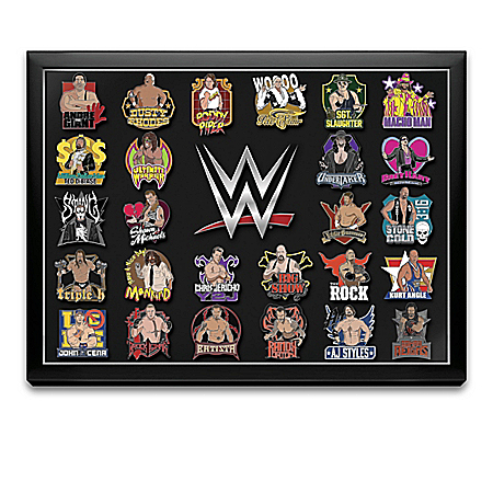 WWE Superstars Hand-Enameled Pin Collection With Custom Display Case 922218