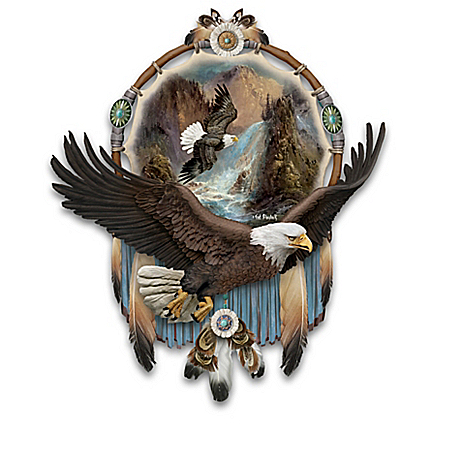 Ted Blaylock Eagle Art Dreamcatcher Wall Decor Collection with Real Feathers