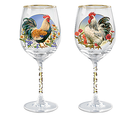Country Charm Rooster-Themed Triple-Fired Wine Glass Collection