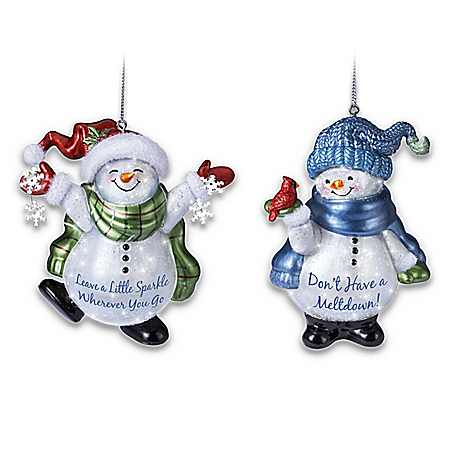 Sparkling Snow Friends Illuminated Ornament Collection