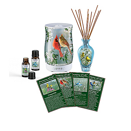 Harmony Of Life: Secrets Of The Garden Essential Oils Collection With Songbird-Themed Diffuser