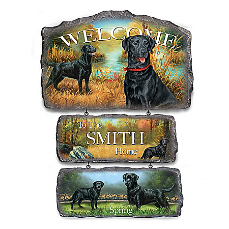Linda Picken Black Labs Personalized Welcome Sign Collection