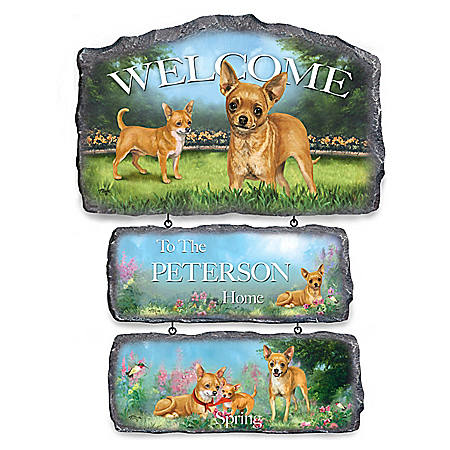 Lovable Chihuahuas Personalized Welcome Sign Collection