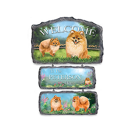 Linda Picken Pomeranian Personalized Welcome Sign Collection