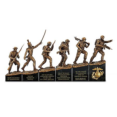 USMC History Timeline Cold-Cast Bronze Sculpture Collection