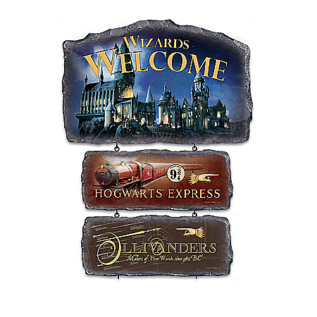 HARRY POTTER Stone-Look Welcome Sign Collection