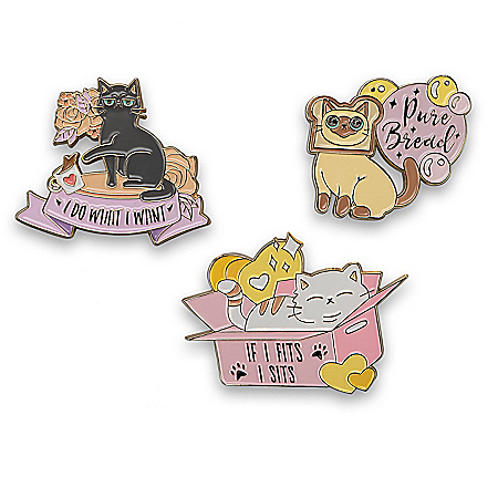 Cattitudes 22K Gold-Plated Pin Collection Featuring Cat Art