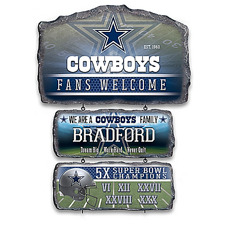 Dallas Cowboys Personalized Stone-Look Welcome Sign