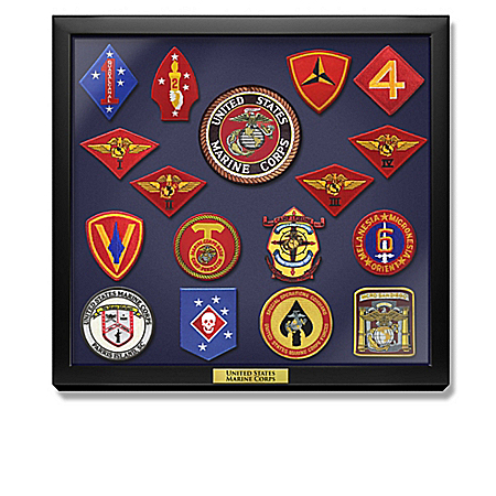 USMC Historic Replica Embroidered Patches With Display