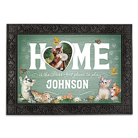 Jurgen Scholz Cat Art Personalized Welcome Mat Collection