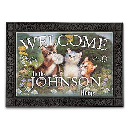 Personalized Jürgen Scholz Kitten Art Welcome Mats