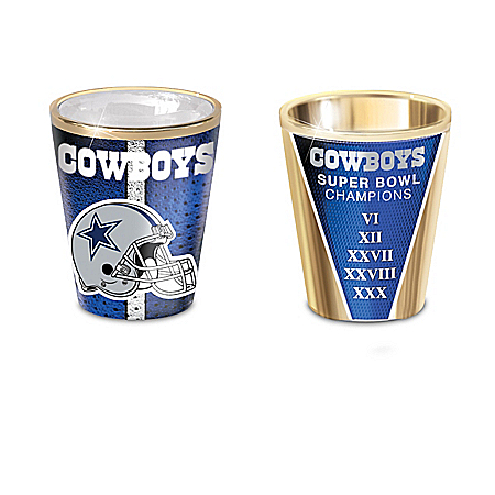 Dallas Cowboys Shot Glasses With Colorful Finishes