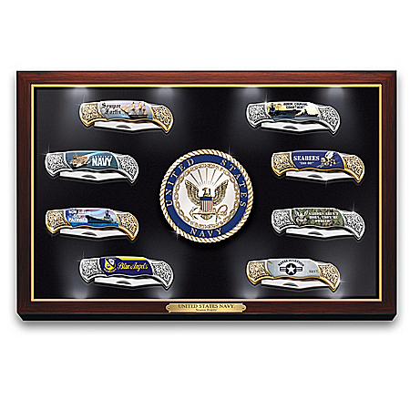 U.S. Navy Knife Collection With Illuminated Display