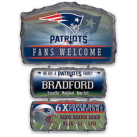New England Patriots Personalized Stone-Look Welcome Sign