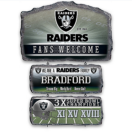 Las Vegas Raiders Personalized Stone-Look Welcome Sign