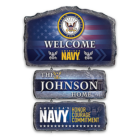 U.S. Navy Personalized Stone-Look Welcome Sign