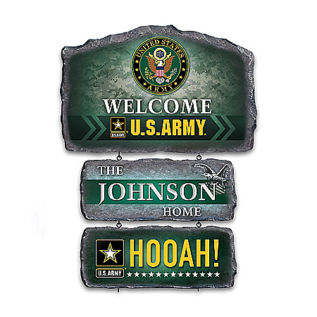 U.S. Army Personalized Stone-Look Welcome Sign