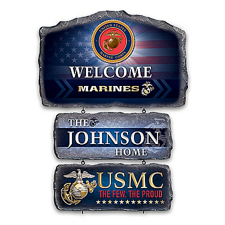U.S. Marine Corps Personalized Stone-Look Welcome Sign