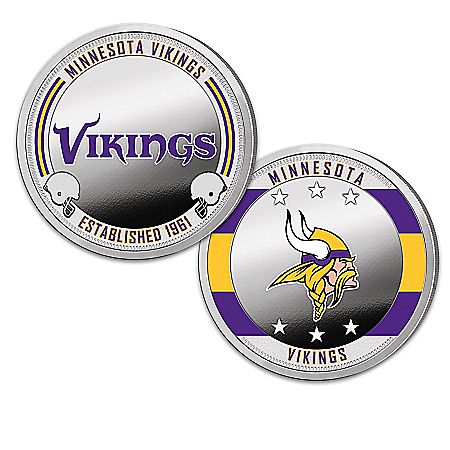 Minnesota Vikings Proof Coin Collection With Display