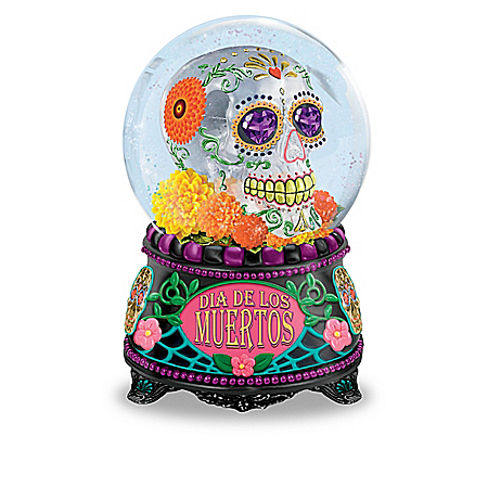 Glow-In-The-Dark Sugar Skull Glitter Globes With Music