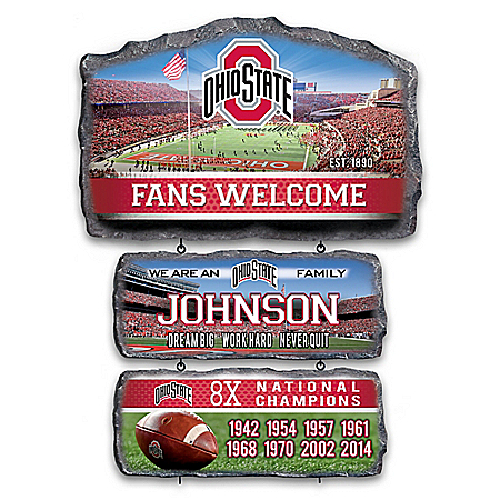 Buckeyes Personalized Stone-Look Welcome Sign