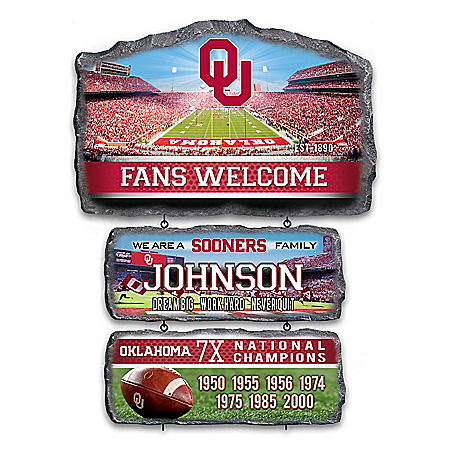 Sooners Personalized Stone-Look Welcome Sign
