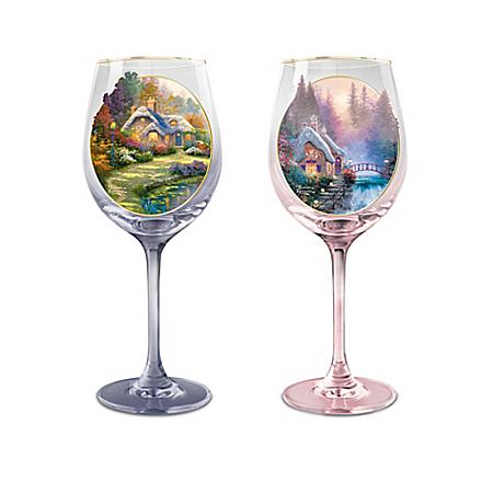 Thomas Kinkade Simply Joys Wine Glasses With 12K-Gold Rims