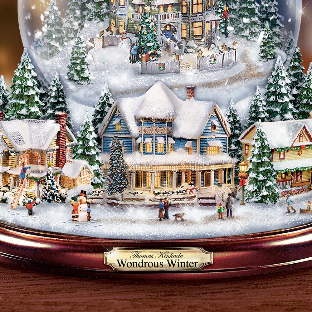 Snowing And Musical Christmas Tree: Thomas Kinkade Wondrous Winter Christmas Tree Snowglobe