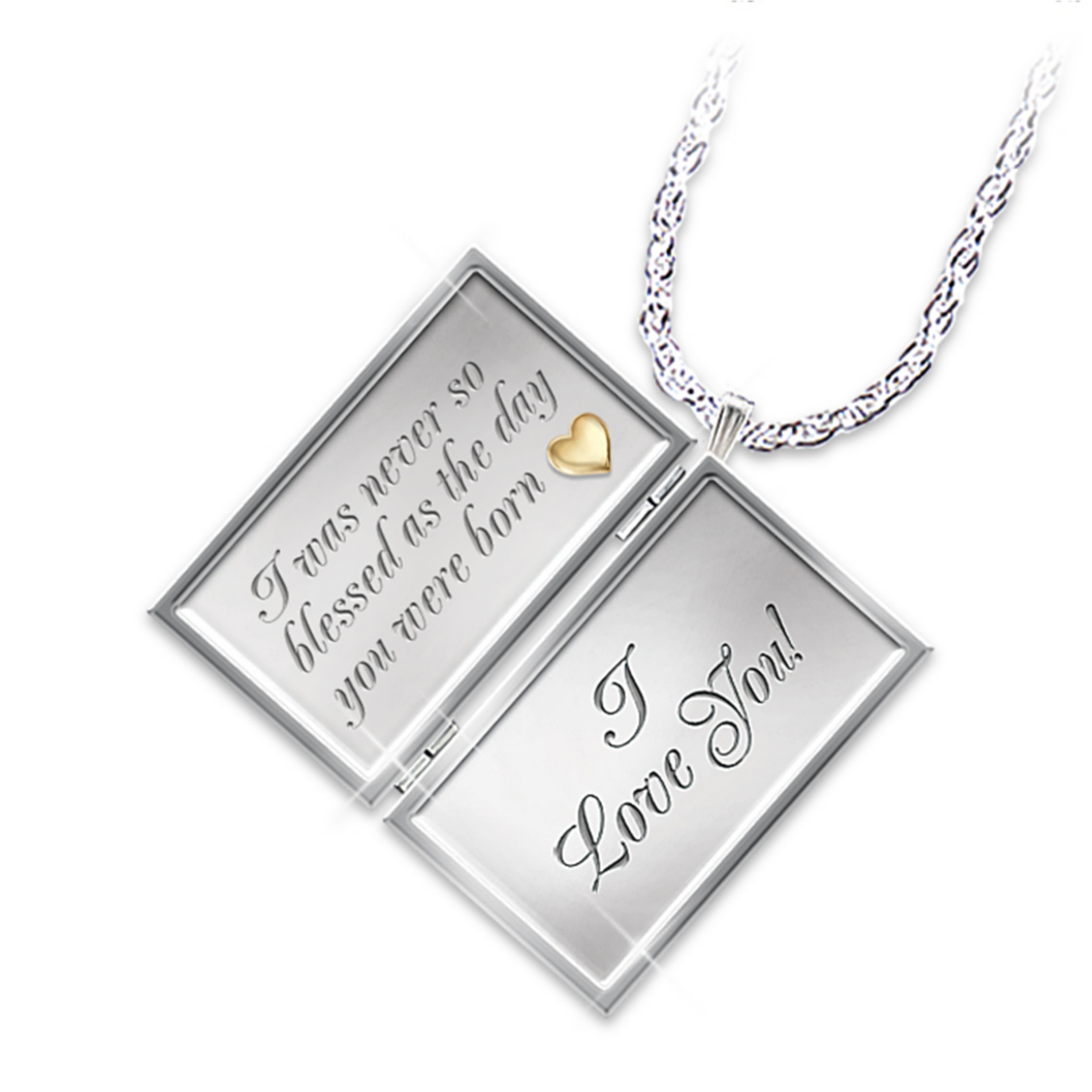 The Bradford Exchange Dear Daughter Letter Of Love Engraved Diamond Locket Necklace at Sears.com