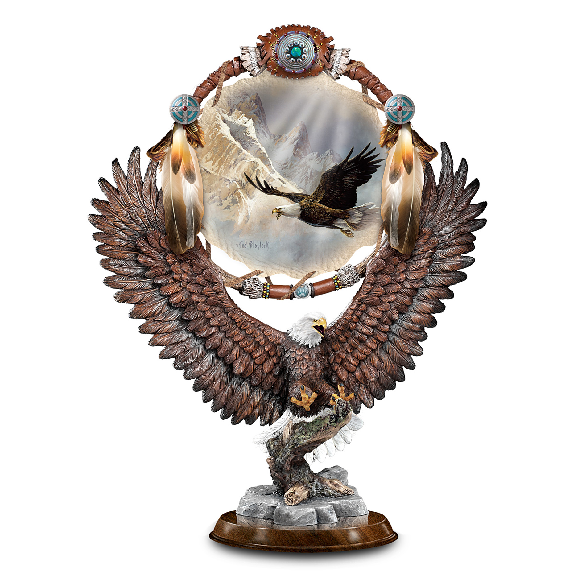 The Bradford Exchange Soaring Dream Ted Blaylock Collectible Bald Eagle Art Sculpture With Replica Dreamcatcher at Sears.com
