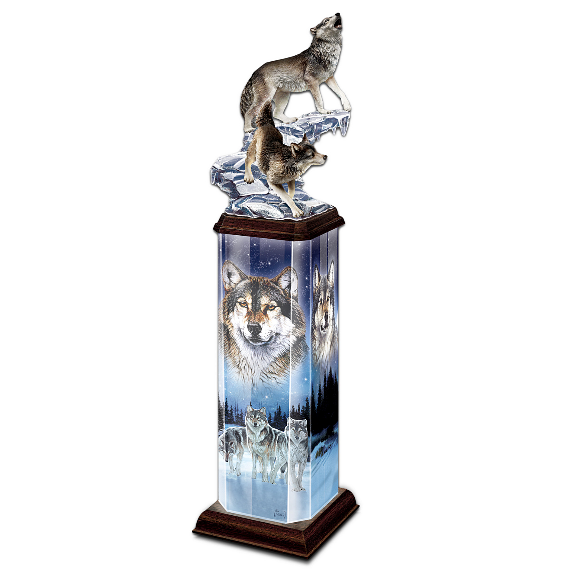 The Bradford Exchange Moonlit Passage Collectible Wolf Art Illuminated Tabletop Sculpture at Sears.com