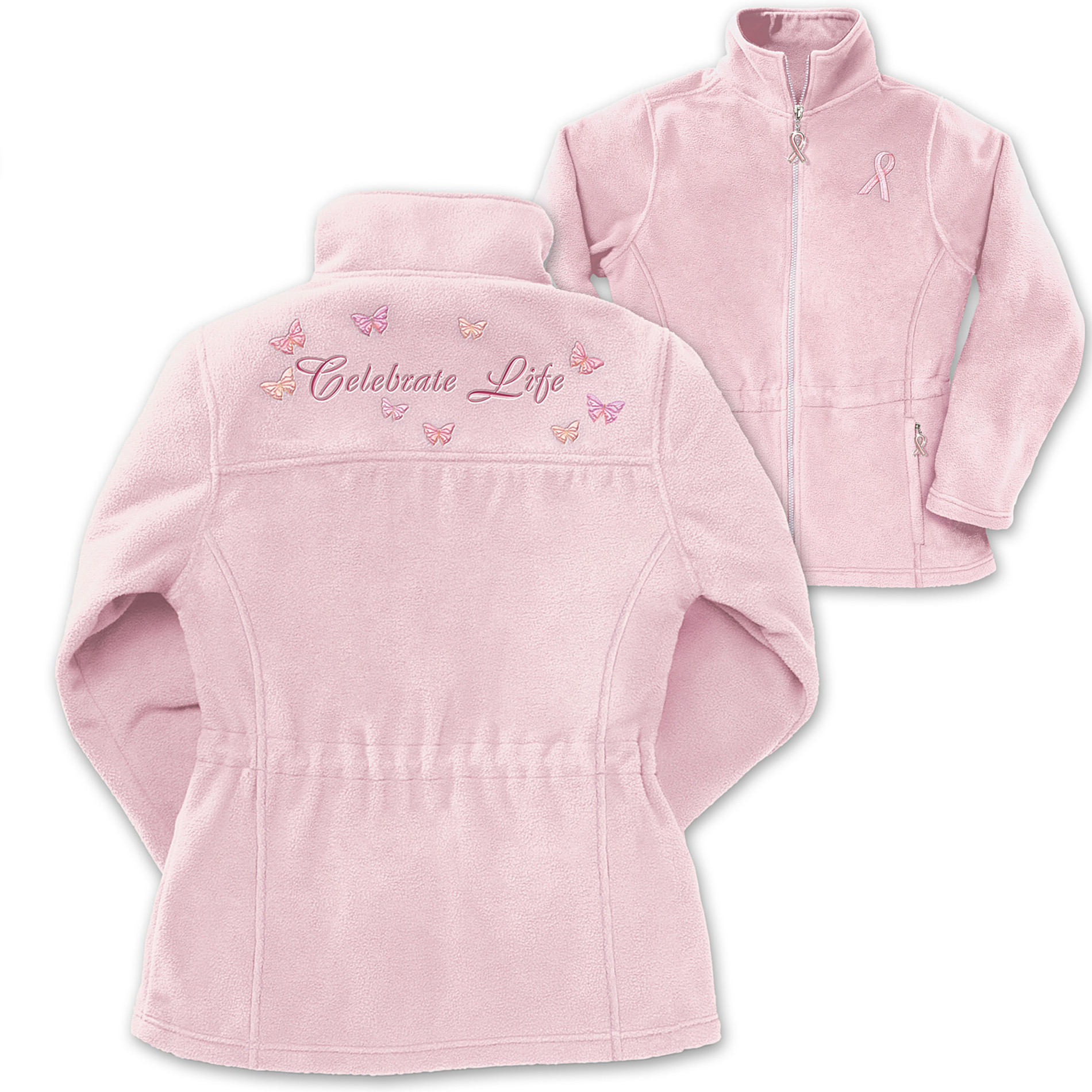 The Bradford Exchange Celebrate Life Embroidered Women's Fleece Jacket: Breast Cancer Charity Apparel Gift at Sears.com