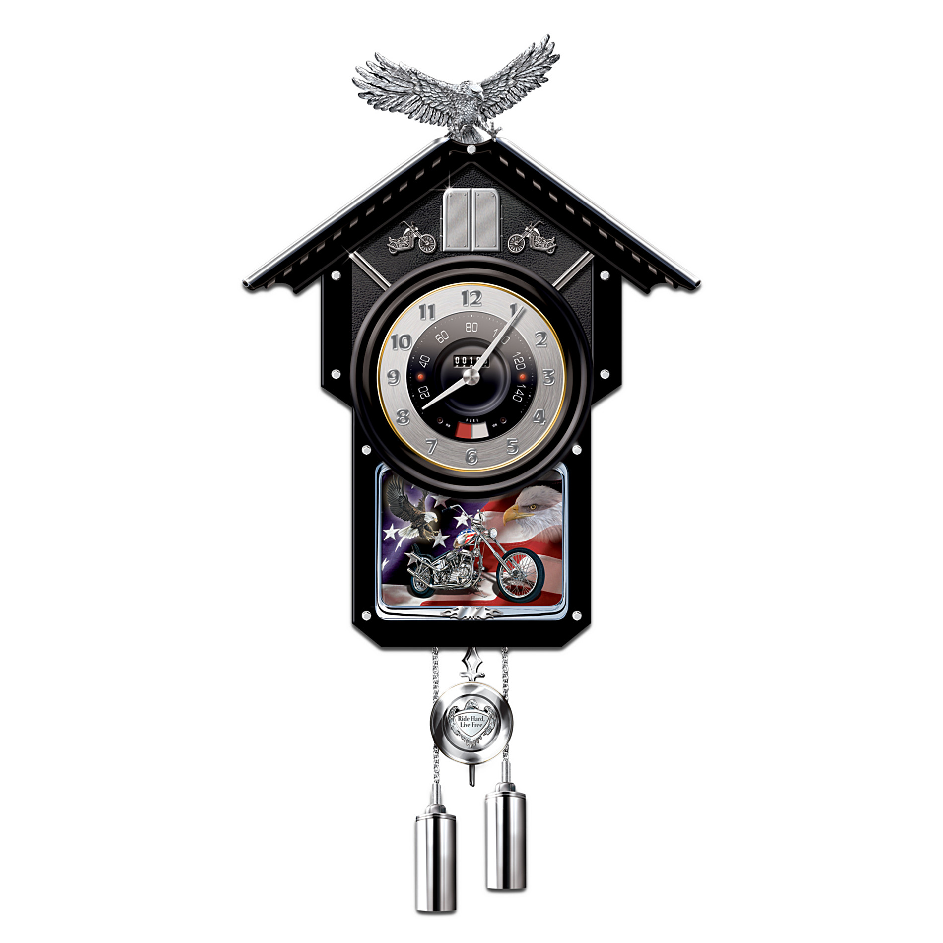 The Bradford Exchange Motorcycle-Themed Collectible Wooden Cuckoo Clock: Time Of Freedom at Sears.com