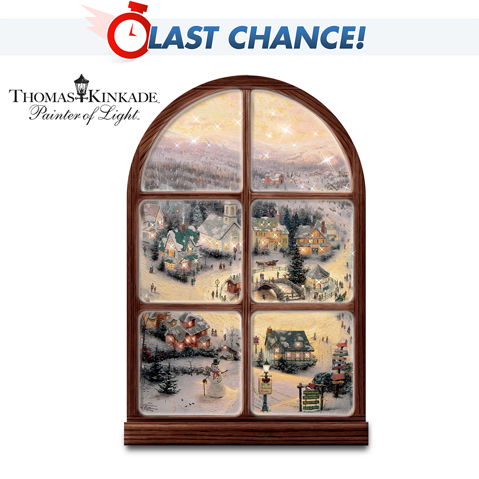 The Bradford Exchange Thomas Kinkade Illuminated Musical Window Wall Decor: Holiday Lights at Sears.com