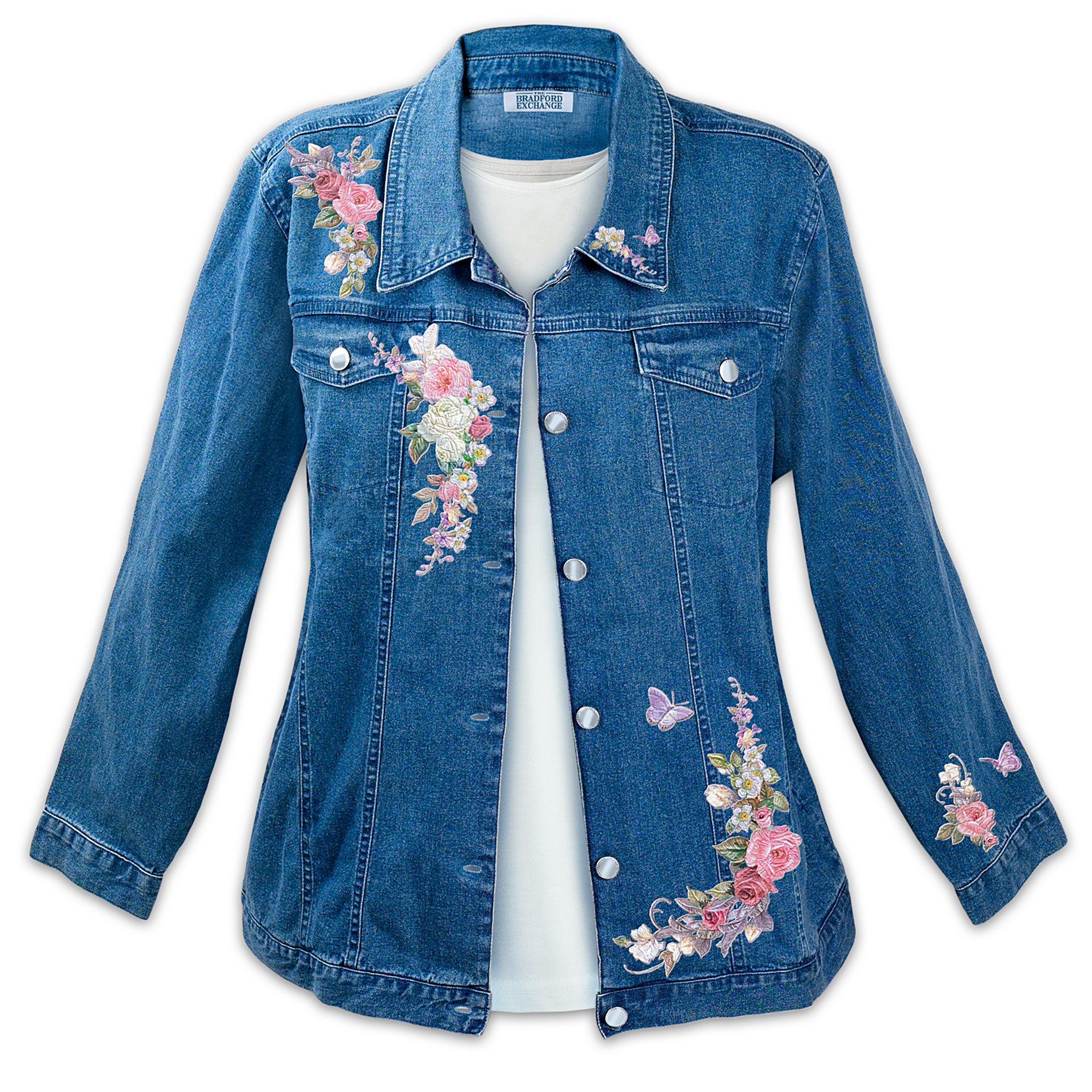 "The Bradford Exchange Lena Liu ""Wrapped In Roses"" Women's Denim Art Jacket at Sears.com"